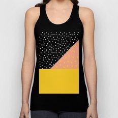 Peach Fuzz Black Polka Dot /// www.pencilmeinstationery.com Unisex Tank Top