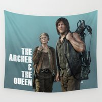 archer Wall Tapestries featuring The Archer & The Queen (Teal Version) by Valerie Canizales
