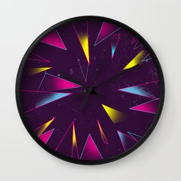 Dimensional Glass and Mirror Yellow Purple Pink Wall Clock