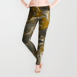 Brown and grey Marble texture acrylic Liquid paint art Leggings