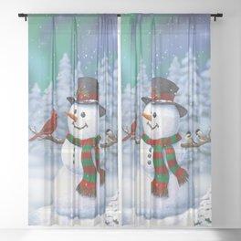 Cute Happy Christmas Snowman with Birds Sheer Curtain