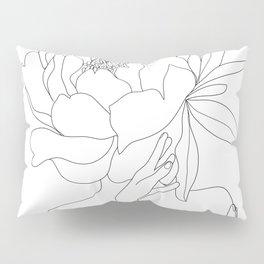 Minimal Line Art Woman Flower Head Pillow Sham