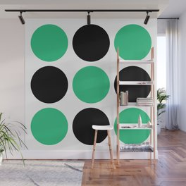 Mid Century Modern Polka Dot Pattern 9 Black and Green Wall Mural