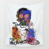 dia de los muertos Wall Tapestries featuring dia de los muertos. by Late Bloomer