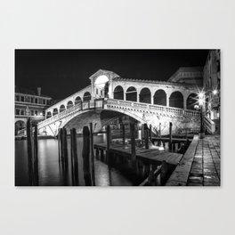 VENICE Rialto Bridge at Night   Monochrome Canvas Print