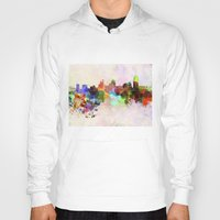 cincinnati Hoodies featuring Cincinnati skyline in watercolor background by Paulrommer