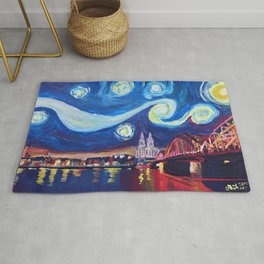 Starry Night in Cologne - Van Gogh Inspirations on River Rhine and Cathedral Rug