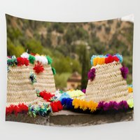 hats Wall Tapestries featuring Straw hats by Simon Ede Photography