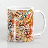 botanical Mugs featuring Botanical Yellow by RIZA PEKER