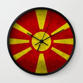 Flag of Macedonia in Super Grunge Wall Clock