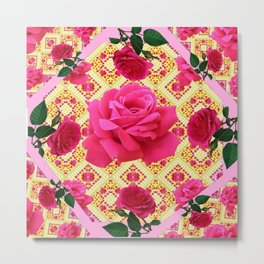 PINK & RED GARDEN ROSES PATTERN PINK ABSTRACT Metal Print