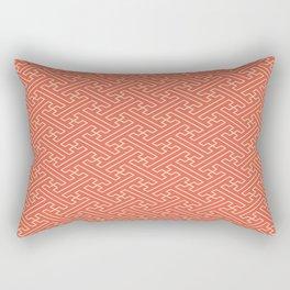 Orange Auspicious Sayagata Japanese Kimono Pattern Rectangular Pillow