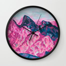 Purple Blue Mountains, Colorado 14ers, Chicago Basic Peaks, San Juan Mtn Art, Acylic Modern Impressionism  Wall Clock