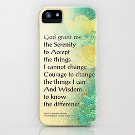 Serenity Prayer Peony Yellow Turquoise iPhone Case
