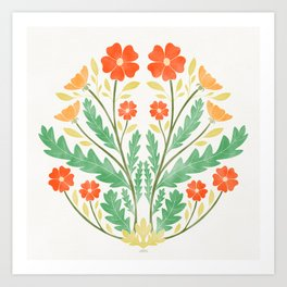 Art Nouveau Illustration / Floral / Circular / Red Art Print