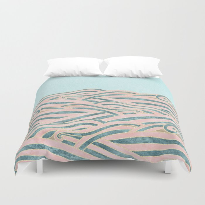 Venetian Waves // Vintage Abstract Pink Blue and Gold Summer Illustration Digital Beach Wall Decor Duvet Cover