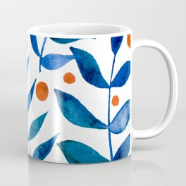 Watercolor berries and branches - blue and orange Coffee Mug