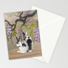 Two Rabbits Under Wisteria Tree Stationery Cards