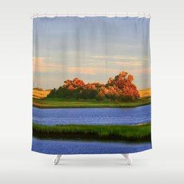 Orange Fall Intercoastal Tree Tops Painting Shower Curtain