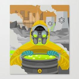 radioactive biohazard suit man on nuclear meltdown Canvas Print