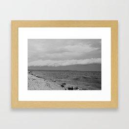 thunderstorm approaching at peroj beach croatia istria black white Framed Art Print