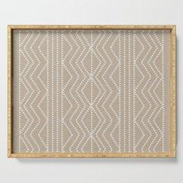 Cream Linen Beige Arrows Pattern Serving Tray