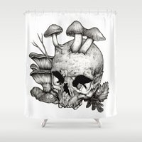 mushrooms Shower Curtains featuring Mushrooms by Arnaud Gomet
