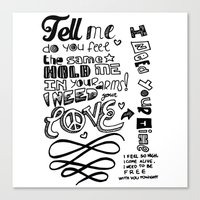 lyrics Canvas Prints featuring Lettering Lyrics by Insait