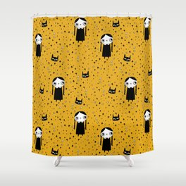 goth girl with her cat Shower Curtain