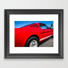 1965 Red Fastback Ford Mustang Muscle Car Framed Art Print