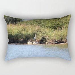 Heron next to a river Rectangular Pillow