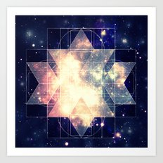 Galaxy Sacred Geometry: Golden Rhombic Hexecontahedron Art Print