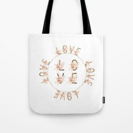 Modern Watercolour Floral Gold LOVE typography Tote Bag