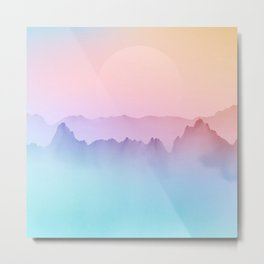 Japanese Ombre Mountain Painting Metal Print