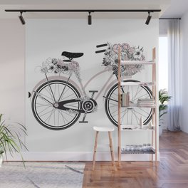 nostalgic bike with lush floral decoration Wall Mural