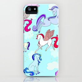 Unicorn repeating pattern colorful on blue iPhone Case