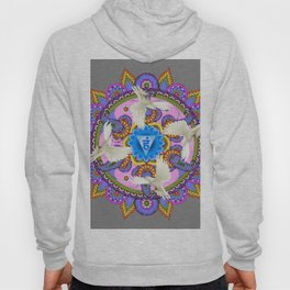 BLUE CHAKRA MANDALA WITH WHITE DOVES& PURPLE-GREY ART Hoody