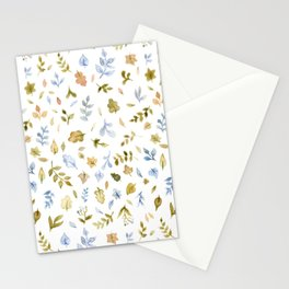 Watercolor Leaf Pattern Stationery Cards