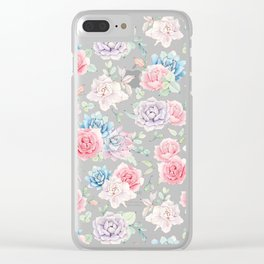 Blush pink teal watercolor hand painted cactus flowers Clear iPhone Case