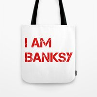 banksy Tote Bags featuring I am Banksy by PupKat