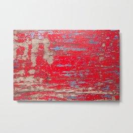 Vintage Red Painted Wood Background Metal Print