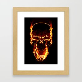 Skull in Fire Flames Framed Art Print