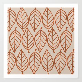 Drawn Leaves Pattern in Clay and Putty Art Print