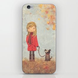 Little girl with dog in autumn landscape iPhone Skin
