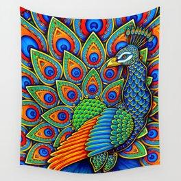 Colorful Paisley Peacock Rainbow Bird Wall Tapestry