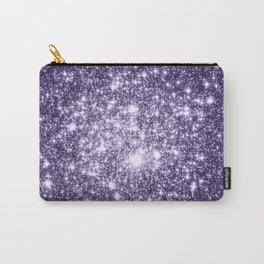 Dark Grape Purple Sparkle Stars Carry-All Pouch