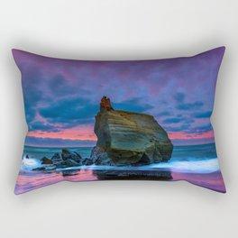 Sunset Beach Rocks Rectangular Pillow