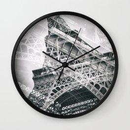 Eiffel Tower Double Exposure Wall Clock