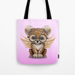 Cute Leopard Cub Fairy Wearing Glasses Pink Tote Bag