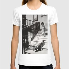 Little Girl with Pet Alligator on a leash black and white photograph / black and white photography T-shirt